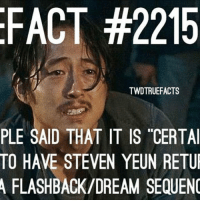 Memes, Back, and 🤖: FACT #2215  TWDTRUEFACTS  PLE SAID THAT IT IS CERTAI  TO HAVE STEVEN YEUN RETUL  A FLASHBACK/DREAM SEQUENO I want him back 😭 - co thewalkingdead walkingdead twd glennrhee