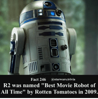 """Jedi, Memes, and Nerd: Fact 246 @starwars.trivia  R2 was named """"Best Movie Robot of  All Time"""" by Rotten Tomatoes in 2009. 🔹What is YOUR favorite movie robot of all time?🔹 - starwars stormtrooper firstorderstormtrooper superbowl swtfa jedi sith more movie me cool instagood dc marvel follow like awesome nerd geek nerdness force jedi sith"""