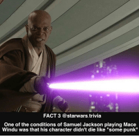 """Mace Windu, Memes, and Nerd: FACT 3 @starwars.trivia  One of the conditions of Samuel Jackson playing Mace  Windu was that his character didn't die like """"some punk"""" ▪️Well who wouldn't make that condition haha▪️ - starwars force nice nerd"""