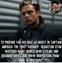 Bucky was so innocent back then. 😢: FACT #315  TO PREPARE FOR HIS ROLE AS BUCKY IN 'CAPTAIN  AMERICA: THE FIRST AVENGER, SEBASTIAN STAN  WATCHED MANY WORLD WAR 1 FILMS AND  DOCUMENTARIESAND DREW INSPIRATION FROM  BAND OF BROTHERS  LT Bucky was so innocent back then. 😢