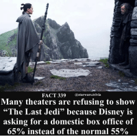 """Disney, Jedi, and Memes: FACT 339 @starwars.trivia  Many theaters are refusing to show  """"The Last Jedi"""" because Disney is  asking for a domestic box office of  65% instead of the normal 55%  93 🔹 Did you preorder your tickets?🔹 - starwars cool force nerd geek"""