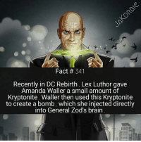 Whenever Lex Luthor & Amanda Waller work together , the entire world is in trouble 💣💥: Fact # 341  Recently in DC Rebirth, Lex Luthor gave  Amanda Waller a small amount of  Kryptonite Waller then used this Kryptonite  to create a bomb, which she injected directly  into General Zod's brain Whenever Lex Luthor & Amanda Waller work together , the entire world is in trouble 💣💥