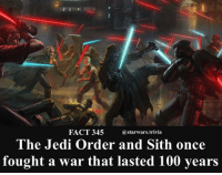 Anaconda, Jedi, and Memes: FACT 345  @starwars.trivia  The Jedi Order and Sith once  fought a war that lasted 100 years 🔹Whose side would you be on?🔹 - starwars force nerd geek