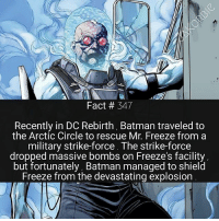 I'm so glad they finally introduced Freeze into DC Rebirth . He's one of my favorite Batman villains ❄: Fact # 347  Recently in DC Rebirth, Batman traveled to  the Arctic Circle to rescue Mr. Freeze from a  military strike-force. The strike-force  dropped massive bombs on Freeze's facility  but fortunately, Batman managed to shield  Freeze from the devastating explosion I'm so glad they finally introduced Freeze into DC Rebirth . He's one of my favorite Batman villains ❄