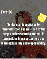 "Batman, Community, and God: Fact: 36  NERDY  BROS  Spider-man is supposed to  misunderstood and ridiculed by the  people he has sworn to protect. In  turn making him a better hero and  learning humility and responsibility. Lil mini rant for you guys. After seeing Spider-Man homecoming it really gives a light on who the character is supposed to be. He's supposed to relate to us. Even tho we do good things, we will still be ridiculed and face the pressure and anger of society. But we need to push through and fight on to make a difference in this world. When Uncle Ben says ""with great power comes responsibility"" he means if you're given the power to do something good, it's your God given responsibility to see it out. So I'm challenging you guys to be the Spider men and women in your community WHEREVER you are. And just do good. Even the smallest things can make the biggest difference. Thanks guys - James, Co-Owner of The Nerdy Bros, Heir to the a Throne of Asgard, rightful husband to Zendaya (that last one may be a lie) - - GeekFaction thenerdybros Trendy Robin wonderwoman flash cyborg superman JusticeLeague Batman thedarkknight nightwing like4like instagood DC marvel comics superhero Fandom marvel detectivecomics warnerbros superheroes theherocentral hero comics avengers starwars justiceleague harrypotter herocentral starwars follow4follow"