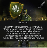 Captain America has killed Black Widow , taken over America , destroyed Las Vegas , & now he's even attacked Atlantis ? Goodness gracious 😅🇺🇸: Fact # 363  Recently in Marvel Comics , Hydra has  officially waged war on the city of Atlantis  Captain America sent a battalion of  submarines to Atlantis, which ther  proceeded to blast the entire city with  hundreds of missiles. Namor was nowhere  to be found Captain America has killed Black Widow , taken over America , destroyed Las Vegas , & now he's even attacked Atlantis ? Goodness gracious 😅🇺🇸