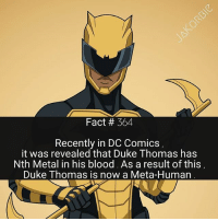 Memes, Superhero, and Duke: Fact # 364  Recently in DC Comics  it was revealed that Duke Thomas has  Nth Metal in his blood. As a result of this  Duke Thomas is now a Meta-Human Duke Thomas' new superhero name is 'The Signal' 🌟