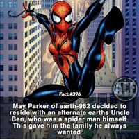 Family, Memes, and Spider: Fact: #396  May Parker of earthr982 decided to  reside with an alternate earths Uncle  Ben, who was a spider man himself  This gave him the family he always  wanted - Man that's awesome. • - QOTD?!: Favorite spiderman?!?