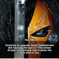 "Love, Memes, and Lost: Fact:#398  WSNKOMICFA  Contrary to popular belief Deathstroke  did not lose his eye to ""The Green  Arrown, he actually lost it when his  wife shot it out. - Still love the legendary item in Injustice 2. • - QOTD?!: Who should be next?!?"