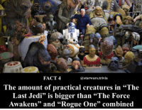 """▪️What is your favorite creature?▪️: FACT 4  @starwars.trivia  .66  he amount of practical creatures in """"The  Last Jedi"""" is bigger than """"The Force  Awakens"""" and """"Rogue One"""" combined ▪️What is your favorite creature?▪️"""