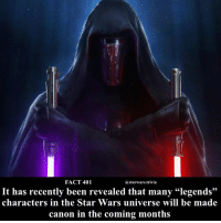 """Memes, Star Wars, and Canon: FACT 401  a starwars.trivia  It has recently been revealed that many """"legends""""  characters in the Star Wars universe will be made  canon in the coming months 🔹Who do you want to see the most?🔹"""