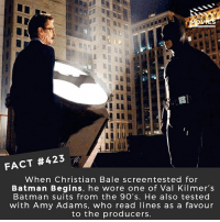 Do you like Ben Affleck as Batman? • Video of the screen test with Amy Adams 👉http:-www.dailymotion.com-video-x150lja 🎥 • • • • Double Tap and Tag someone who needs to know this 👇 All credit to the respective film and producers. movie movies film tv camera cinema fact didyouknow moviefacts cinematography screenplay director actor actress act acting movienight cinemas watchingmovies hollywood bollywood didyouknowmovies: FACT #423  When Christian Bale screentested for  Batman Begins, he wore one of Val Kilmer's  Batman suits from the 9O's. He also tested  with Amy Adams, who read lines as a favour  to the producers. Do you like Ben Affleck as Batman? • Video of the screen test with Amy Adams 👉http:-www.dailymotion.com-video-x150lja 🎥 • • • • Double Tap and Tag someone who needs to know this 👇 All credit to the respective film and producers. movie movies film tv camera cinema fact didyouknow moviefacts cinematography screenplay director actor actress act acting movienight cinemas watchingmovies hollywood bollywood didyouknowmovies