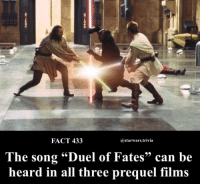 """Carolina Panthers, Memes, and 🤖: FACT 433  astarwars.trivia  The song """"Duel of Fates""""can be  heard in all three prequel films 🎼What's your favorite starwars song?🎼"""