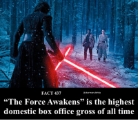 "Memes, Box Office, and Office: FACT 437  astarwars.trivia  ""The Force Awakens"" is the highest  domestic box office gross of all time ▪️How many times did you watch it in theaters?▪️"