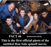 Han Solo, Memes, and Movies: FACT 46  @starwars trivia  This is the first official photo of the  untitled Han Solo spinoff movie. ⚜️ Comment below what the title should be!⚜️ - starwars awesome instagood me cool follow like dc marvel nice nerd geek first force force