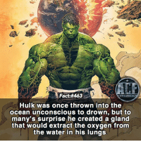 Facts, Memes, and Hulk: Fact:#463  AC  Hulk was once thrown into the  ocean unconscious to drown, but to  many's surprise he created a gland  that would extract the oxygen from  the water in his lungs  8i - Granted very little ways to kill the Hulk. • - QOTD: How would you kill the Hulk?!?