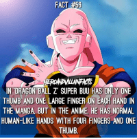 What was your favorite version of Majin Buu?: FACT #50  N DRAGON BALL Z SUPER BUU HAS ONLY ONE  THUMB AND ON  LARGE FINGER ON EACH HAND IN  THE MANGA BUT IN THE ANIME HE HAS NORMAL  HUMAN-LIKE HANDS WITH FOUR FINGERS AND ONE  THUMB What was your favorite version of Majin Buu?