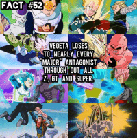 Memes, Vegeta, and 🤖: FACT  #520  VEGETA LOSES  MAJOR ANTAGONIST  THROUGH OUT ALL  Z,GT AND SUPER Did you know? 🤔🐲🉐 • poor vegeta 😂😭 swipe 👉🏻👉🏻 DBZfact DBZ DBGT dbsuper