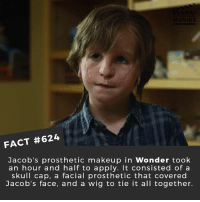 Makeup, Memes, and Movies: FACT #624  Jacob's prosthetic makeup in Wonder took  an hour and half to apply. It consisted of a  skull cap, a facial prosthetic that covered  Jacob's face, and a wig to tie it all together. What is the most impressive movie prosthetics you've seen? 🎥 • • • • Double Tap and Tag someone who needs to know this 👇 All credit to the respective film and producers. movie movies film tv cinema fact didyouknow moviefacts cinematography screenplay director movienight hollywood netflix didyouknowmovies wonder prosthetics sfx gore walkingdead visualeffects movienerd