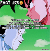 Did you know? 🤔🐲🉐 DbzFact DragonBall DBZ • Episode 87 through 105: FACT #750  THE HISTORIC BATTLE BETWEEN  GOKU & FRIEZA LASTED 18 EPISODES,  OVER 3 AND A HALF HOURS OF SCREENTIME  MAKING IT THE LONGEST BATTLE IN ANIME HISTORY  QYAHBOYGOKU Did you know? 🤔🐲🉐 DbzFact DragonBall DBZ • Episode 87 through 105