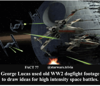 Memes, 🤖, and Spaces: FACT 77  (a starwars trivia  George Lucas used old WW2 dogfight footage  to draw ideas for high intensity space battles. 🔹Which is your favorite Starwars spaceship battle?🔹 - starwars stormtrooper firstorderstormtrooper superbowl swtfa jedi sith more movie me cool instagood dc marvel follow like awesome nerd geek nerdness force jedi sith