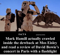 Mark Hamill, Memes, and Flashlight: FACT 8  @starwars.trivia  Mark Hamill actually crawled  inside the dewback at Mos Eisley  and read a review of David Bowie's  concert in Paris with a flashlight ▪️Well alright😂