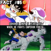 Dragonball, Frieza, and Gohan: FACT #85  GOHAN IS ONLYA5 YEARS OLDS  WHEN HE FIGHTS EMPEROR FRIEZA Did you know? 🤔🐲🉐 Let that sink in, lmao 😂 DbzFact DragonBall DBZ