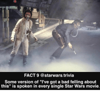 """Bad, Memes, and Star Wars: FACT 9 @starwars.trivia  Some version of """"I've got a bad felling about  this"""" is spoken in every single Star Wars movie. ▪️Which is your favorite?▪️"""