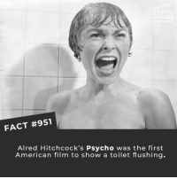 Memes, Movies, and Netflix: FACT #951  Alred Hitchcock's Psycho was the first  American film to show a toilet flushing. The shower scene is one of the best-known in all of cinema. Have you seen it? • • • • Double Tap and Tag someone who needs to know this 👇 All credit to the respective film and producers. Movie Movies Film TV Cinema MovieNight Hollywood Netflix alfredhitchcock hitchcock psycho