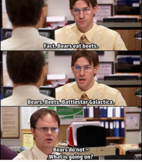 my favorite scene 😛: Fact Bears eat beets.  Bears Beets Battlestar Galactica.  Bears do not  Whatis going on my favorite scene 😛