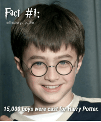 Gryffindor, Harry Potter, and Memes: Fact #f  ethediarvofpotter  15,000 boys were cast for Harry Potter. Guys, I'm gonna change the theme and the new theme will be facts! 😉 Sorry, I made a mistake, it's auditioned not cast. 😅 Comment '😍' if you knew this and '😮' if you didn't! harrypotter thechosenone theboywholived gryffindor harrypotterfact harrypotterfacts • Potterheads⚡count: 16,471
