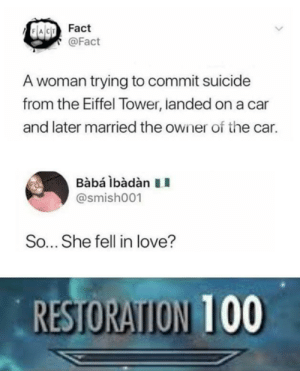 Love, Eiffel Tower, and Suicide: Fact  @Fact  A woman trying to commit suicide  from the Eiffel Tower, landed on a car  and later married the owner of the car.  BabáibàdànII  @smish001  So... She fell in love?  RESTORAION 100 It ends well at least