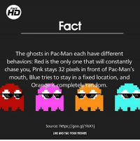 Crazy, Facts, and Funny: Fact  Fact  The ghosts in Pac Man each have different  behaviors: Red is the only one that will constantly  chase you, Pink stays 32 pixels in front of PacMan's  mouth, Blue tries to stay in a fixed location, and  Orange is completely random  Source: https://goo.gl/1lsX1j  LIKE AND TAG YOUR FREINDS These are so cool! Follow @facthd for awesome daily facts 🙌🏼😏 Guys that last Mom fact made my jaw drop though 😂 - Double tap for luck 👌🏼 Backup- @memerzone - Tags (Ignore) 🚫 *Sponsored GamingPosts Laugh CallOfDuty Lol Meme Memes Cod Selfie Funny Gamer FunnyAF Savage Salt Meme PhotoOfTheDay Crazy Insane Minecraft KylieJenner Kardashian NoChill YouTube Relatable Like4Like Overwatch