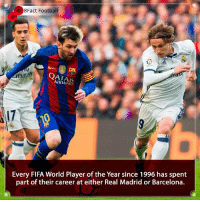 Arsenal, Barcelona, and England: Fact Football  mira  AIRWAYS  17  Every FIFA World Player of the Year since 1996 has spent  part of their career at either Real Madrid or Barcelona. Are these two the biggest clubs in the world ? If so what clubs can become super clubs 🤔🤷🏾♂️👀 • • england liverpoolfc bayernmunich premierleague cristianoronaldo barcelona realmadrid madrid football arsenal fifa