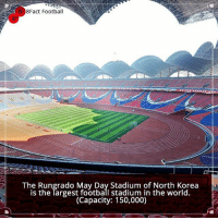 Football, Memes, and North Korea: Fact Football  The Rungrado May Day Stadium of North Korea  is the Targest football stadium in the world.  (Capacity: 150,000) Did you know that? Follow @football_tab for the best football jokes 👥⚽️
