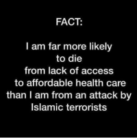 An Attack: FACT:  I am far more likely  to die  from lack of access  to affordable health care  than I am from an attack by  Islamic terrorists