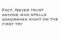 gonorrhea: FACT: NEVER TRUST  ANYONE WHO SPELLS  GONORRHEA RIGHT ON THE  FIRST TRY