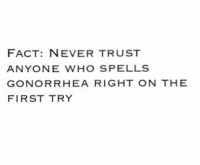 FACT: FACT: NEVER TRUST  ANYONE WHO SPELLS  GONORRHEA RIGHT ON THE  FIRST TRY FACT