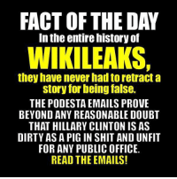 Facts, Hillary Clinton, and Memes: FACT OF THE DAY  In the entire nistory of  WIKILEAKS.  they have never had to retract a  story for being false.  THE PODESTA EMAILS PROVE  BEYOND ANY REASONABLE DOUBT  THAT HILLARY CLINTON IS AS  DIRTY AS A PIG IN SHIT ANDUNFIT  FOR ANY PUBLIC OFFICE.  READ THE EMAILS!