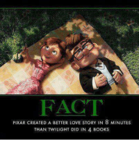 Twilighters: FACT  PIXAR CREATED A BETTER LOVE STORY IN 8 MINUTES  THAN TWILIGHT DID IN 4 BOOKS
