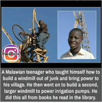 Memes, Library, and Libraries: Fact Point  A Malawian teenager who taught himself how to  build a windmill out of junk and bring power to  his village. He then went on to build a second,  larger windmill to power irrigation pumps. He  did this all from books he read in the library. did you know fact point , education amazing dyk unknown facts daily facts💯 didyouknow follow follow4follow f4f factpoint instafact awesome world worldfacts like like4ike tag friends Don't forget to tag your friends 🤘
