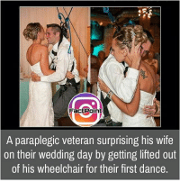 Facts, Friends, and Memes: Fact Point  A paraplegic veteran surprising his wife  on their wedding day by getting lifted out  of his wheelchair for their first dance. Follow our page for more Facts 😇 Don't forget to tag your friends 💖