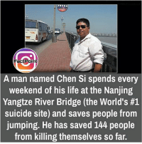 Fact Point  Aman named Chen Si spends every  weekend of his life at the Nanjing  Yangtze River Bridge (the World's #1  suicide site) and saves people from  jumping. He has saved 144 people  from killing themselves so far. did you know fact point , education amazing dyk unknown facts daily facts💯 didyouknow follow follow4follow f4f factpoint instafact awesome world worldfacts like like4ike tag friends Don't forget to tag your friends 🤘