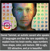 Memes, 🤖, and Rare: Fact Point  Daniel Tammet, an autistic savant who speaks  10 languages and has the rare capability to  explain how his brain works, says numbers  have shape, color, and texture. 289 is ugly,  333 attractive, and pi is beautiful. did you know fact point , education amazing dyk unknown facts daily facts💯 didyouknow follow follow4follow f4f factpoint instafact awesome world worldfacts like like4ike tag friends Don't forget to tag your friends 🤘