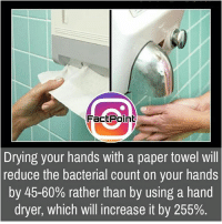 Follow our page for more Facts 😇 Don't forget to tag your friends 💖: Fact Point  Drying your hands with a paper towel will  reduce the bacterial count on your hands  by 45-60% rather than by using a hand  dryer, which will increase it by 255%. Follow our page for more Facts 😇 Don't forget to tag your friends 💖