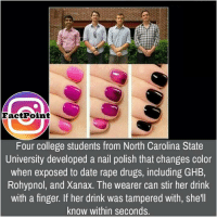 College, Drugs, and Memes: Fact Point  Four college students from North Carolina State  University developed a nail polish that changes color  when exposed to date rape drugs, including GHB,  Rohypnol, and Xanax. The wearer can stir her drink  with a finger. If her drink was tampered with, she'll  know within seconds.