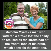 did you know fact point , education amazing dyk unknown facts daily facts💯 didyouknow follow follow4follow f4f factpoint instafact awesome world worldfacts like like4ike tag friends Don't forget to tag your friends 🤘: Fact Point  Malcolm Myatt a man who  suffered a stroke lost the ability  to feel sad as the stroke had hit  the frontal lobe of his brain,  which controls the emotions. did you know fact point , education amazing dyk unknown facts daily facts💯 didyouknow follow follow4follow f4f factpoint instafact awesome world worldfacts like like4ike tag friends Don't forget to tag your friends 🤘