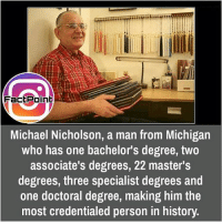 did you know fact point , education amazing dyk unknown facts daily facts💯 didyouknow follow follow4follow f4f factpoint instafact awesome world worldfacts like like4ike tag friends Don't forget to tag your friends 🤘: Fact Point  Michael Nicholson, a man from Michigan  who has one bachelor's degree, two  associate's degrees, 22 master's  degrees, three specialist degrees and  one doctoral degree, making him the  most credentialed person in history. did you know fact point , education amazing dyk unknown facts daily facts💯 didyouknow follow follow4follow f4f factpoint instafact awesome world worldfacts like like4ike tag friends Don't forget to tag your friends 🤘