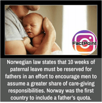 Memes, Norway, and Norwegian: Fact Point  Norwegian law states that 10 weeks of  paternal leave must be reserved for  fathers in an effort to encourage men to  assume a greater share of care-giving  responsibilities. Norway was the first  country to include a father's quota. did you know fact point , education amazing dyk unknown facts daily facts💯 didyouknow follow follow4follow f4f factpoint instafact awesome world worldfacts like like4ike tag friends Don't forget to tag your friends 🤘