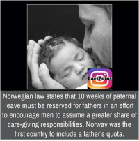 Memes, Norway, and Norwegian: Fact Point  Norwegian law states that 10 weeks of paternal  leave must be reserved for fathers in an effort  to encourage men to assume a greater share of  care-giving responsibilities. Norway was the  first country to include a father's quota.
